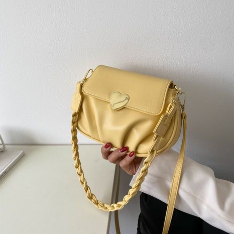 wholesale heart buckle fold one-shoulder messenger small round bag nihaojewelry  NHLH390490's discount tags