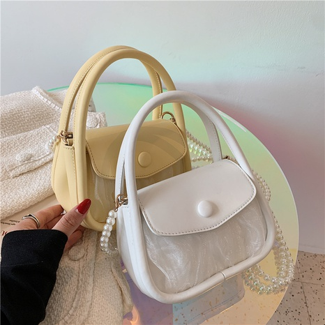 wholesale pearl chain solid color messenger shoulder underarm bag nihaojewelry  NHLH390492's discount tags