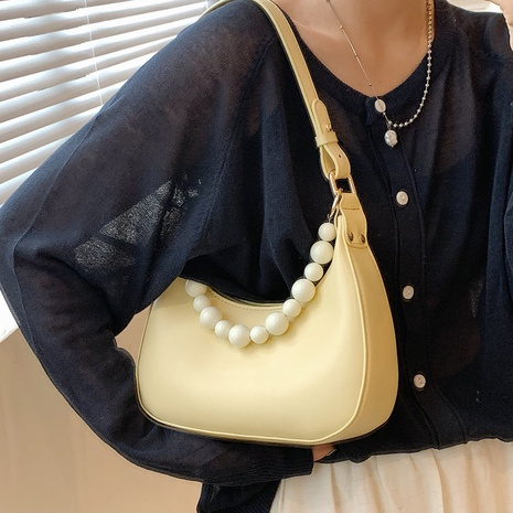 wholesale solid color pearl chain one-shoulder armpit bag nihaojewelry  NHLH390499's discount tags
