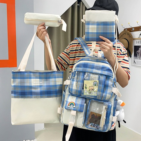 wholesale plaid pattern duck doll pendant backpack four-pieces set nihaojewelry  NHGA390510's discount tags
