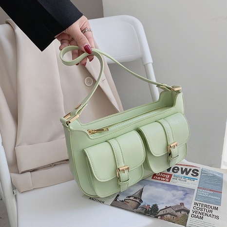 wholesale solid color double pocket shoulder messenger underarm bag nihaojewelry  NHGA390523's discount tags