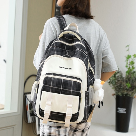 wholesale large-capacity lattice pattern backpack nihaojewelry  NHGA390528's discount tags
