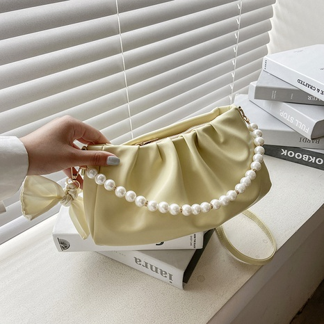 wholesale pearl chain shoulder messenger fold clouds bag nihaojewelry  NHXC390591's discount tags