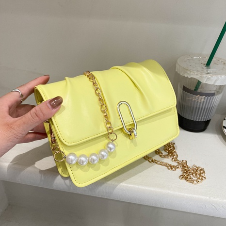 wholesale solid color pearl chain messenger small square bag nihaojewelry  NHXC390592's discount tags