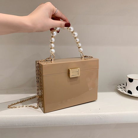 wholesale solid color chain acrylic messenger small square bag nihaojewelry  NHLH390631's discount tags