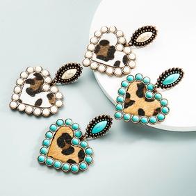 wholesale jewelry bohemia heart-shaped earrings leather earrings Nihaojewelry NHLN391590