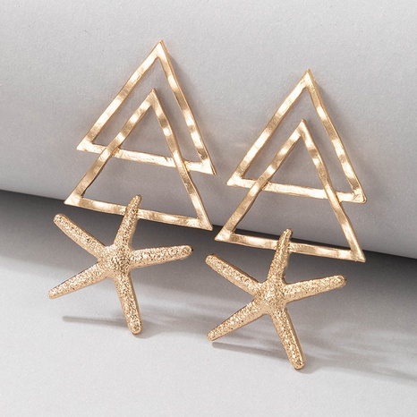 wholesale jewelry hollow triangle starfish earrings nihaojewelry  NHGY391588's discount tags