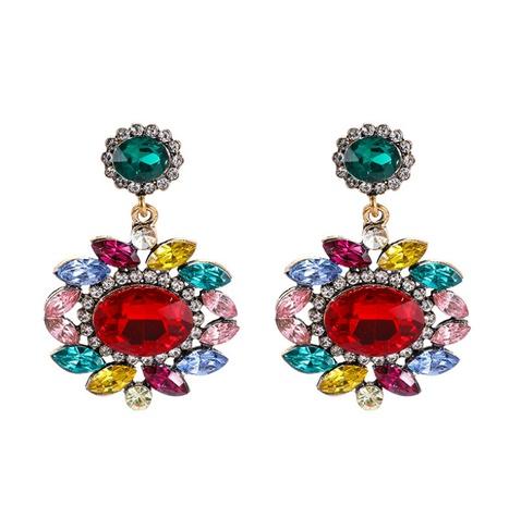Großhandel mehrschichtige ovale Blumendiamant-Acryl-Ohrringe Nihaojewelry NHHER390643's discount tags
