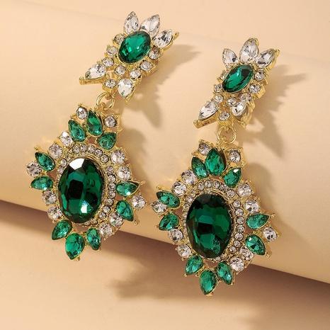 Großhandel Schmuck Retro Smaragd Strass Blütenblatt Ohrringe Nihaojewelry NHNJ390662's discount tags