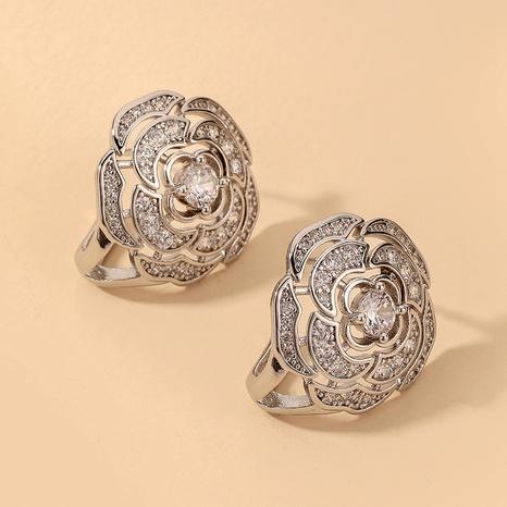 Großhandel Schmuck einfache eingelegte Strassblumenohrringe Nihaojewelry NHNJ390665's discount tags