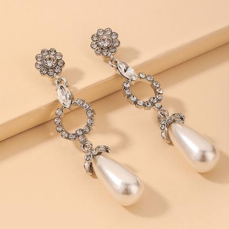 Großhandel Schmuck Barock eingelegte Strass Perlen Blume Anhänger Ohrringe Nihaojewelry NHNJ390664's discount tags