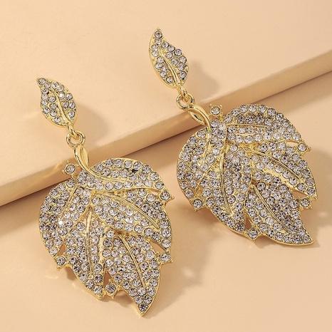 Großhandel Schmuck voller Strass-Blatt-Ohrringe Nihaojewelry NHNJ390668's discount tags