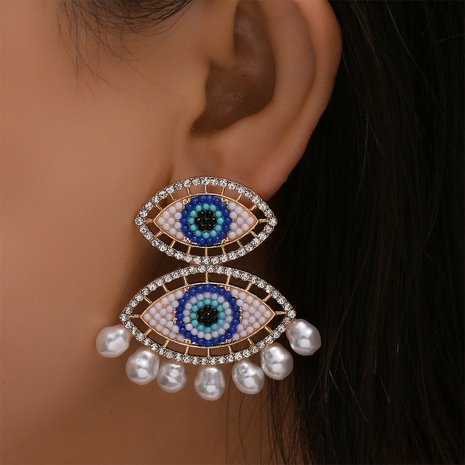 Großhandel Schmuck Böhmen lange Quaste Dämon Auge Ohrringe Nihaojewelry NHYAO390671's discount tags