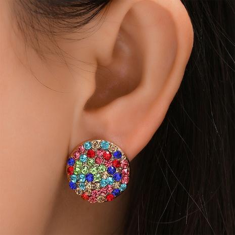 Großhandel Schmuck Mode Legierung eingelegten farbigen Diamanten runde Ohrringe Nihaojewelry NHYAO390672's discount tags