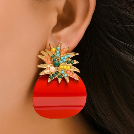 Großhandel Schmuck Legierung Pailletten Ananas Farbe Diamant Ohrringe Nihaojewelry NHYAO390676's discount tags