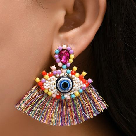 Großhandel Schmuck diamantbesetzte Dämonenaugen Quaste Ohrring Nihaojewelry NHYAO390683's discount tags