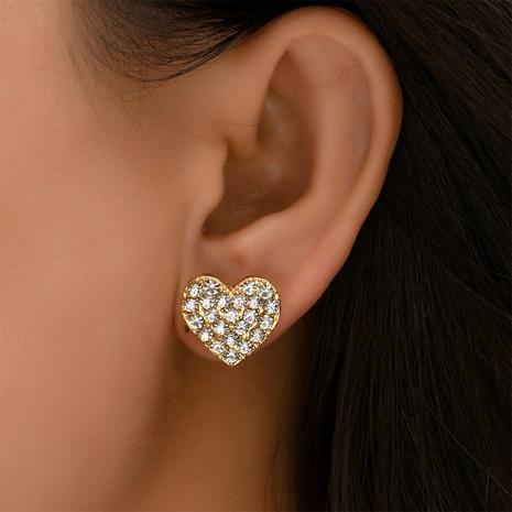 Großhandel Schmuck diamantbesetzte Herzohrstecker Nihaojewelry NHYAO390686's discount tags