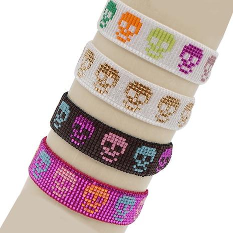color Halloween skull punk style hand-woven Miyuki bead bracelet wholesale jewelry Nihaojewelry NHBDB390701's discount tags