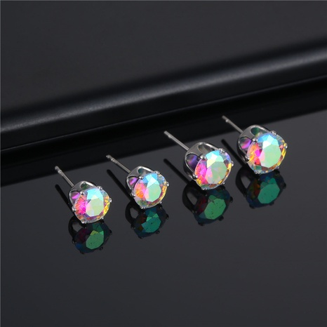 wholesale fashion stainless steel six-claw color crystal stud earrings Nihaojewelry  NHAC390714's discount tags