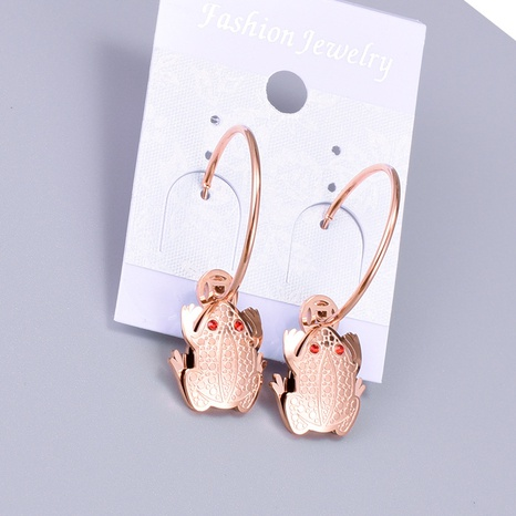 Großhandel Kröte Roségold Titanstahl Ohrringe Nihaojewelry NHAB390746's discount tags