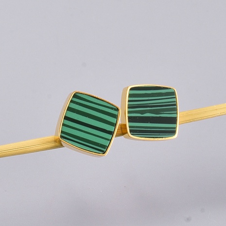 Al por mayor joyería esmeralda pendientes de acero de titanio marca cuadrada Nihaojewelry NHAB390752's discount tags