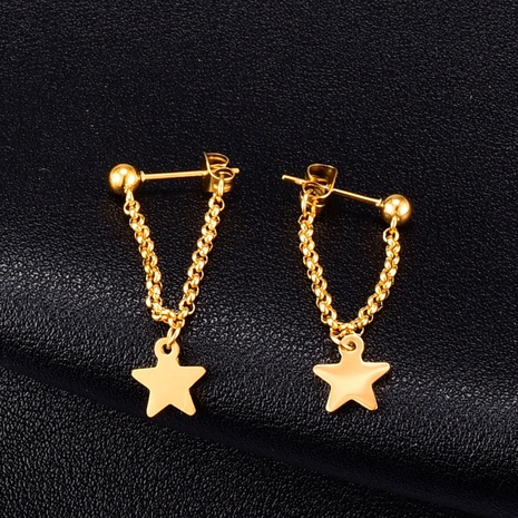 Großhandel Schmuck Star Chain Stud Titanium Steel Ohrringe Nihaojewelry NHAB390761's discount tags