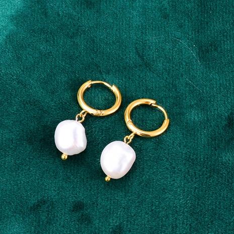 Großhandel Schmuck Perle geometrische runde Titanstahlohrringe Nihaojewelry NHAB390764's discount tags