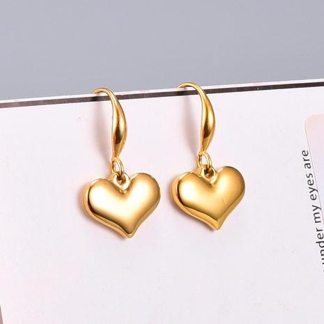 Großhandel Schmuck einfaches glattes Herz aus massivem Titanstahl Ohrhaken Nihaojewelry NHAB390765's discount tags
