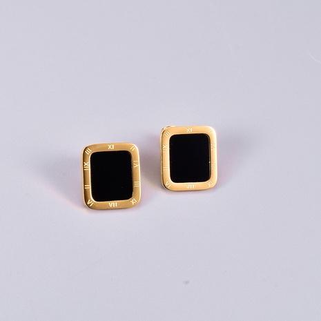 Großhandel rechteckige römische Ziffer Titanstahl Ohrringe Nihaojewelry NHAB390768's discount tags
