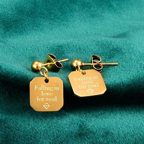 Großhandel Schmuck quadratischer Anhänger Titanstahl Ohrringe Nihaojewelry NHAB390772's discount tags