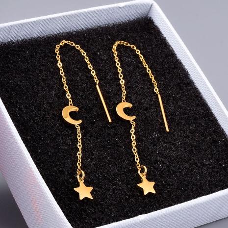 Al por mayor joyería estrella luna pendientes de acero de titanio Nihaojewelry NHAB390773's discount tags