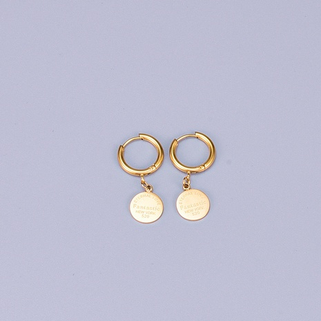 Großhandel Schmuck Vergoldet Rose Blume Münze Titanstahl Ohrring Nihaojewelry NHAB390775's discount tags