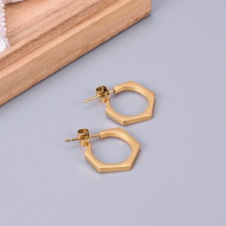 Großhandel Schmuck geometrische Sechskantmutter Titanstahl Ohrringe Nihaojewelry NHAB390776's discount tags