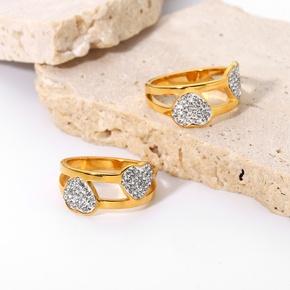 wholesale fashion full diamond double heart stainless steel ring Nihaojewelry  NHJIE390892
