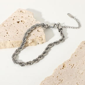 Retro Twisted Chain Stainless Steel Anklet wholesale jewelry Nihaojewelry NHJIE390900