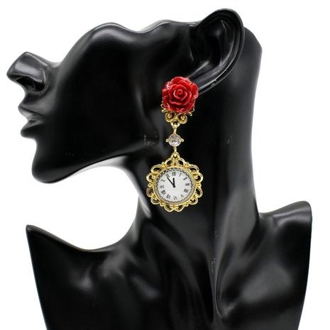 Großhandel Schmuck Retro Rose rote Blumenuhr Ohrringe Nihaojewelry NHNT391075's discount tags