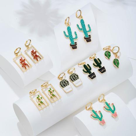 Al por mayor joyas geométricas pendientes de cactus de plantas huecas Nihaojewelry NHYIA391200's discount tags