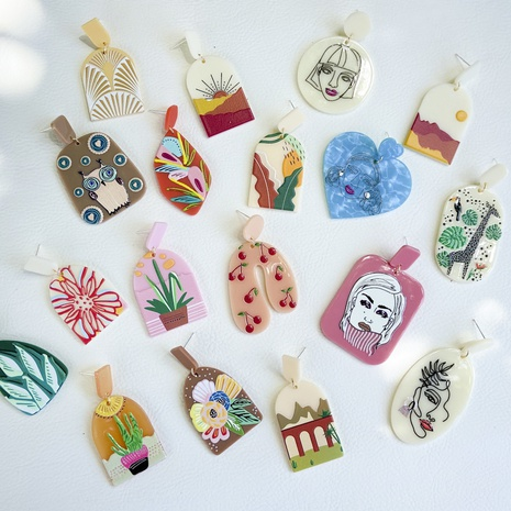 wholesale jewelry plate printing pattern acrylic earrings Nihaojewelry  NHYIA391243's discount tags