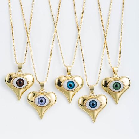 bisutería mayoreo en forma de corazón colgante de ojo de diablo collar de circón con incrustaciones de cobre nihaojewelry NHLN391294's discount tags
