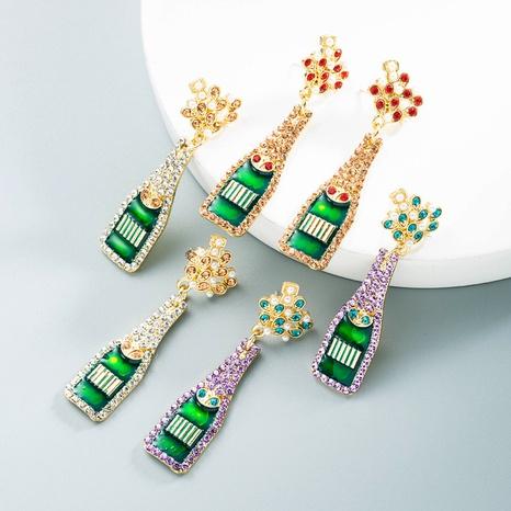 Großhandel Schmuck Legierung eingelegte Perle Strass Tropfen Weinflasche Ohrringe Nihaojewelry NHLN391300's discount tags