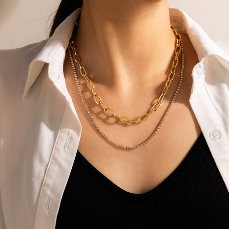 wholesale fashion geometric diamond double-layer necklace Nihaojewelry  NHGY391502's discount tags
