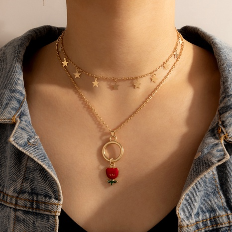 wholesale Korean new star rose flower pendent multi-layer clavicle chain Nihaojewelry  NHGY391500's discount tags