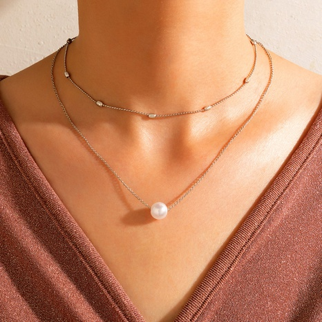 Wholesale Fashion Pearl Geometric Double Layer Clavicle Chain Nihaojewelry  NHGY391487's discount tags
