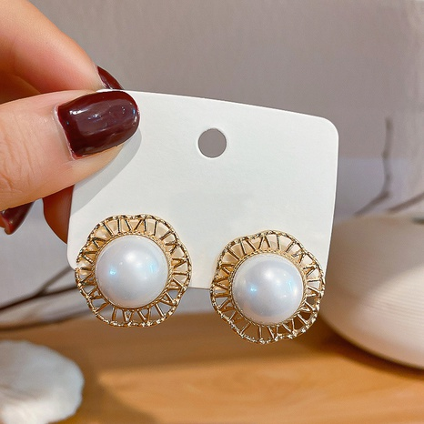 pearl round lace baroque earrings wholesale jewelry Nihaojewelry NHHER391722's discount tags