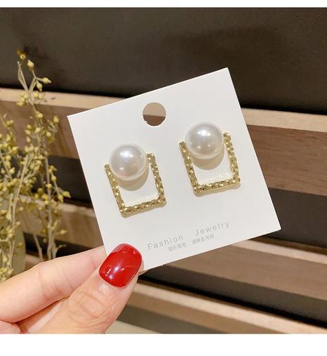Simple Pearl Geometric Stud Earrings wholesale jewelry Nihaojewelry NHHER391730's discount tags