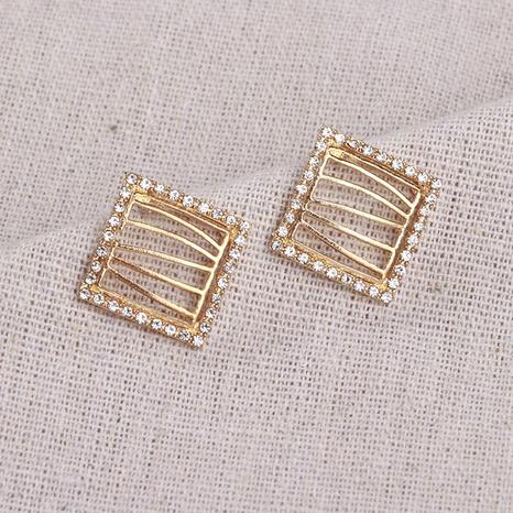 Flash Diamond Square Geometric Earrings wholesale jewelry Nihaojewelry NHHER391732's discount tags