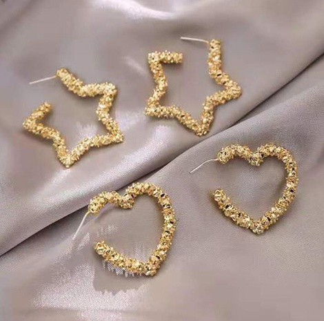 bump texture heart shape five-pointed star metal earrings wholesale jewelry Nihaojewelry NHHER391734's discount tags