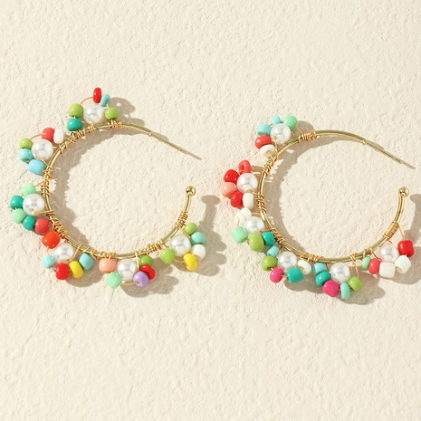 wholesale jewelry colorful rice bead flower earrings Nihaojewelry NHNZ391753's discount tags