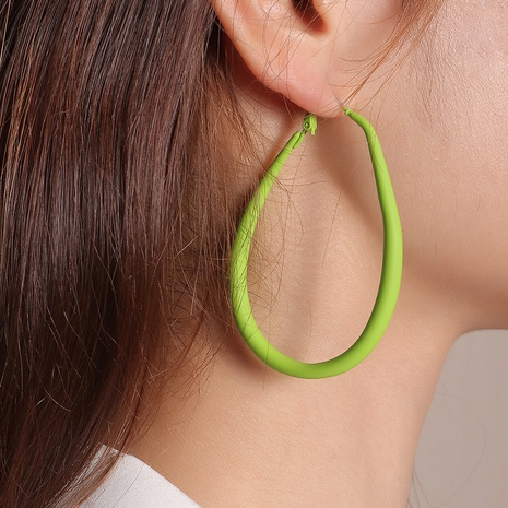 solid color metal spray paint oval exaggerated earrings wholesale jewelry Nihaojewelry NHNZ391760's discount tags