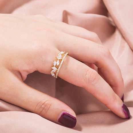 wholesale fashion geometric micro-inlaid zircon opening adjustable ring Nihaojewelry  NHDB391849's discount tags